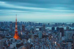 東京タワーが写った東京の都会を映した写真