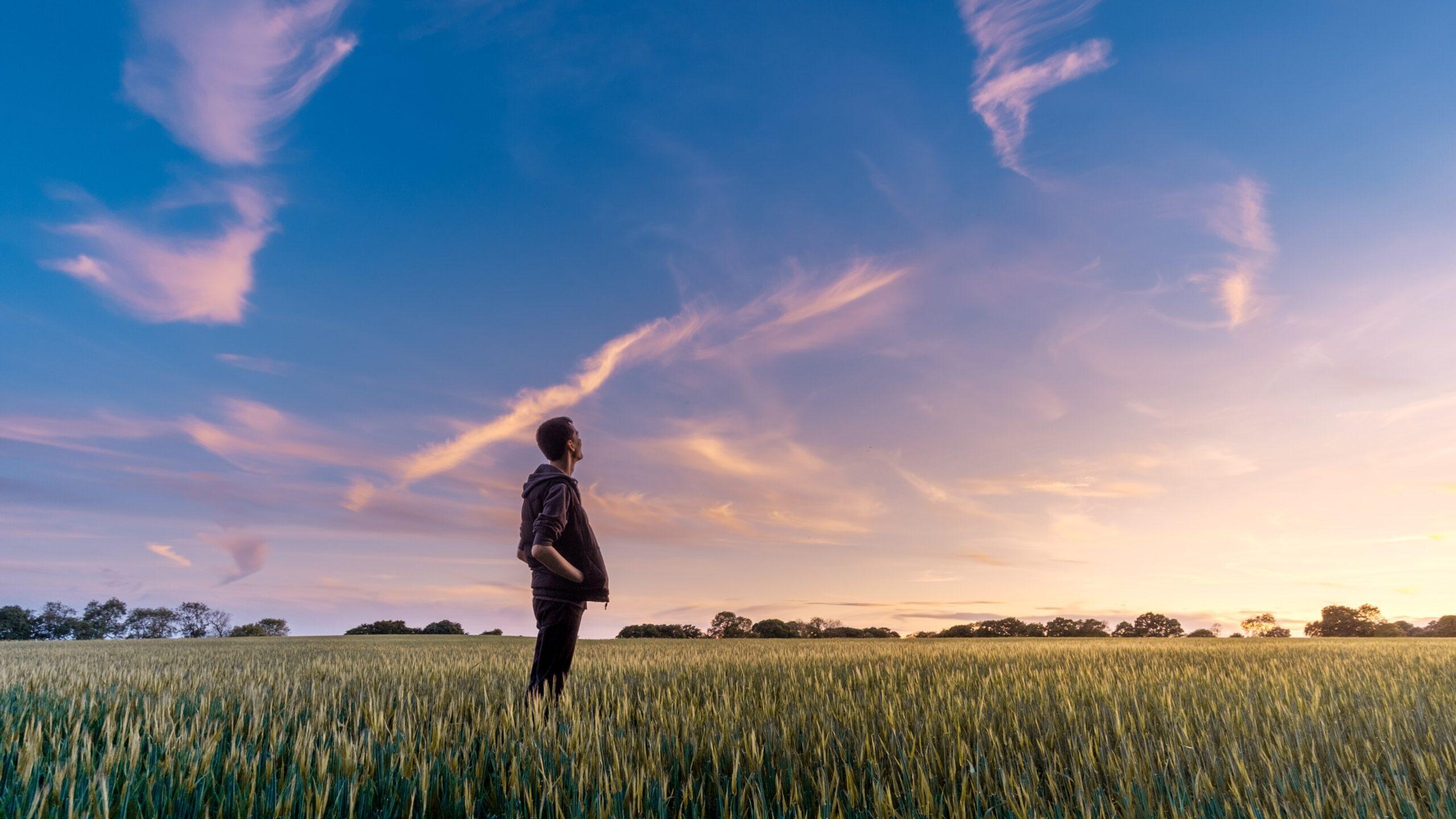 男性が草原に佇んでいる写真