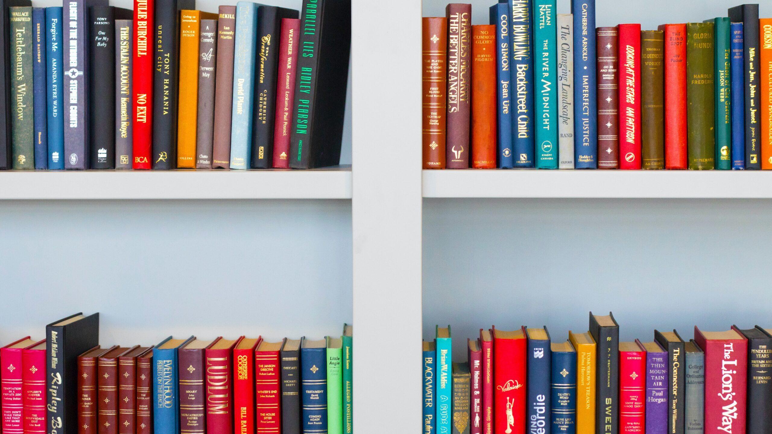 本棚にカラフルな本が並んでいる写真